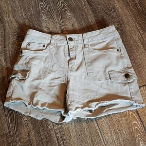 Tan cut off jean shorts